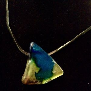 Beautiful hand stained sea glass necklace